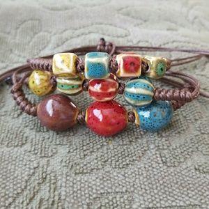 Set of 3 Ceramic Bead Layering Bracelets  layering